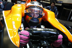 Stoffel Vandoorne, McLaren MCL32, sits in his car in the garage