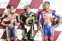 Top 3 after Qualifying: Johann Zarco, Monster Yamaha Tech 3, Marc Marquez, Repsol Honda Team, Danilo Petrucci, Pramac Racing
