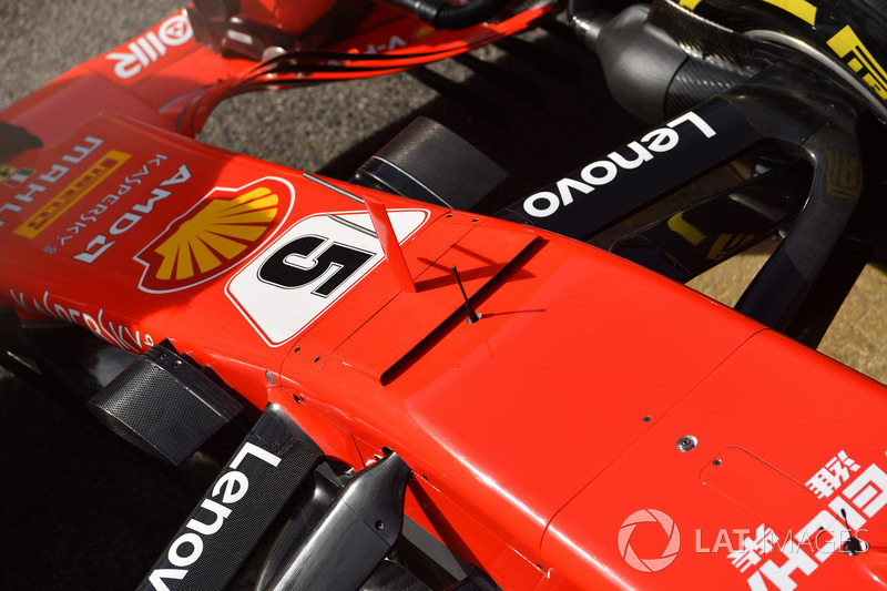 Ferrari SF71H burun ve ön süspansiyon detayı