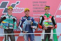 Podio: segundo lugar Joan Mir, Leopard Racing, Ganador de la carrera Jorge Martin, Del Conca Gresini Racing Moto3, tercer lugar Marcos Ramírez, Platinum Bay Real Estate