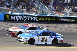 Ryan Blaney, Wood Brothers Racing Ford, Matt Kenseth, Joe Gibbs Racing Toyota