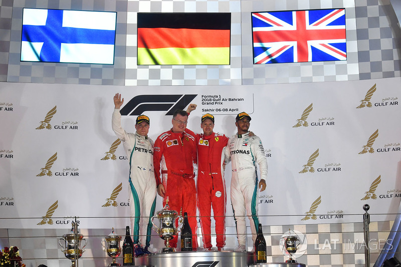 Podium: race winner Sebastian Vettel, Ferrari, second place Valtteri Bottas, Mercedes-AMG F1, third place Lewis Hamilton, Mercedes AMG F1