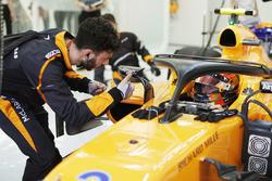 Stoffel Vandoorne, McLaren MCL33 Renault, dans son cockpit