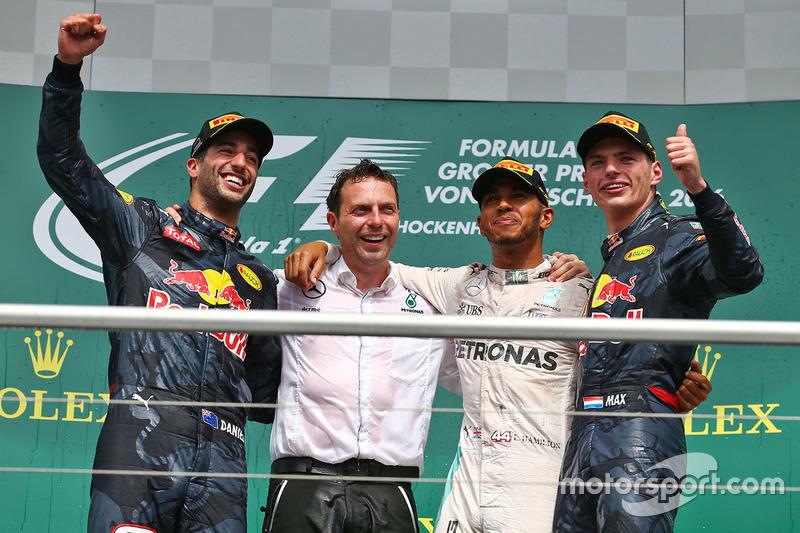2016: 1. Lewis Hamilton, 2. Daniel Ricciardo, 3. Max Verstappen