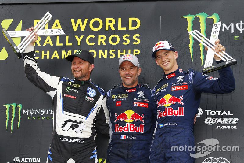 (Ki-ka): Petter Solberg, PSRX Volkswagen Sweden, Sébastien Loeb, Team Peugeot Total, Timmy Hansen, Team Peugeot Total