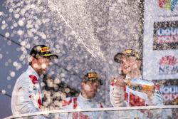 Podium: race winners Robin Frijns, Stuart Leonard, Dries Vanthoor, Audi Sport Team WRT celebrate with champagne