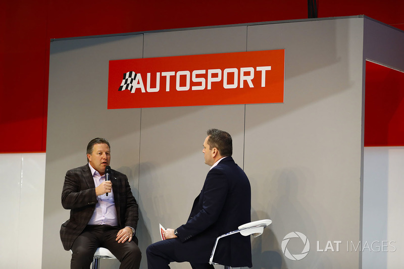 Zak Browb, is interviewed by Henry Hope-Frost, on the Autosport Stage