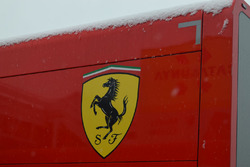 Ferrari truck covered with snow
