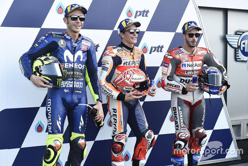 Marc Marquez, Repsol Honda Team, Valentino Rossi, Yamaha Factory Racing, Andrea Dovizioso, Ducati Team