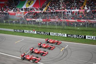Andrea Bertolini, Ferrari F60, Giancarlo Fisichella, Ferrari F60, Davide Rigon, Ferrari F60 en Marc Gené, Ferrari F60