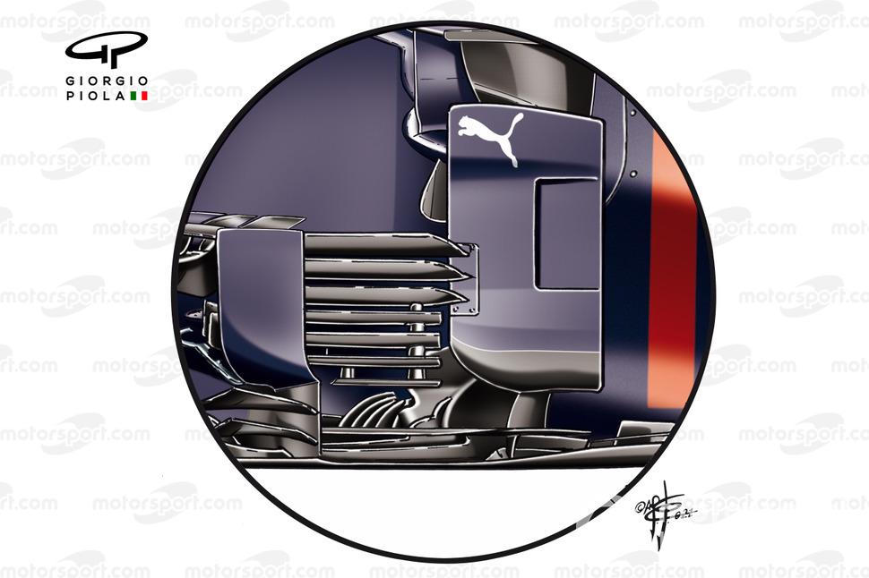 Detalle del antiguo bargeboard del Red Bull Racing RB16B.