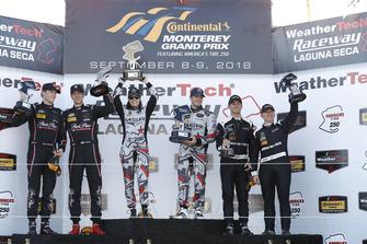 #73 Park Place Motorsports Porsche 911 GT3 R, GTD: Patrick Lindsey, Jörg Bergmeister, #86 Michael Shank Racing with Curb-Agajanian Acura NSX, GTD: Katherine Legge, Alvaro Parente, #33 Riley Motorsports Mercedes AMG GT3, GTD: Jeroen Bleekemolen, Ben Keating, podium