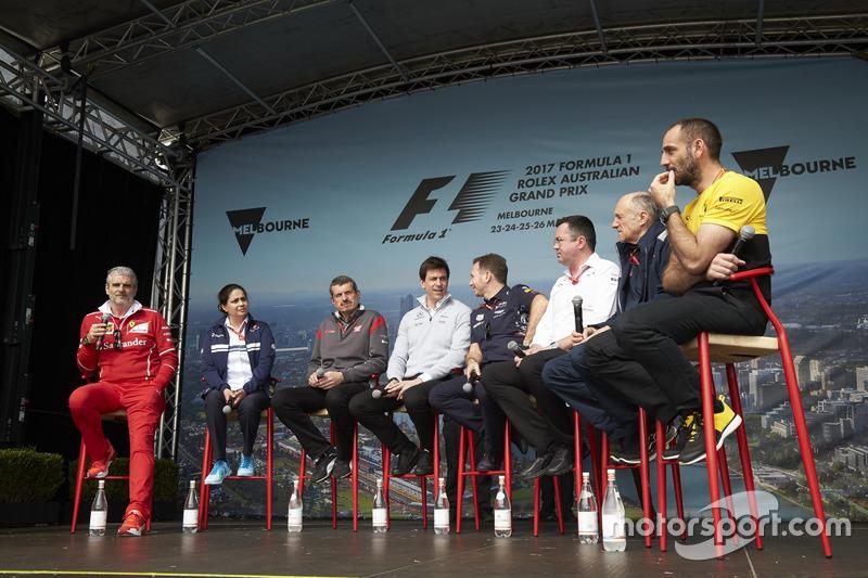 Maurizio Arrivabene, Ferrari, Monisha Kaltenborn, Sauber, Guenther Steiner, Haas F1 Team, Toto Wolff, Mercedes AMG, Christian Horner, Red Bull Racing, Eric Boullier, McLaren, Franz Tost, Scuderia Toro Rosso, y Cyril Abiteboul, Renault Sport F1
