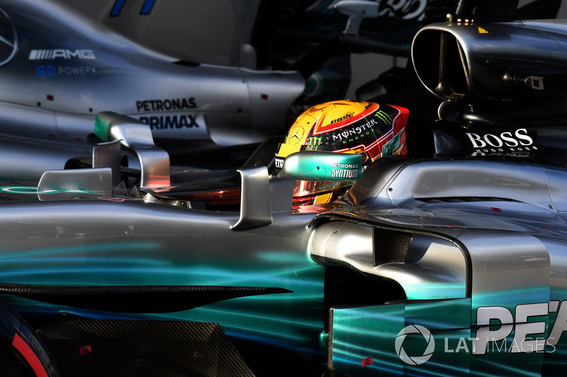 Lewis Hamilton, Mercedes-Benz F1 W08 dans le Parc Fermé