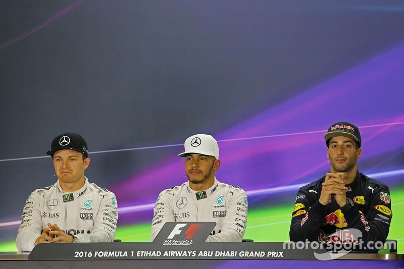 Press conference: polesitter Lewis Hamilton, Mercedes AMG F1, second place Nico Rosberg, Mercedes AMG F1, third place Daniel Ricciardo, Red Bull Racing