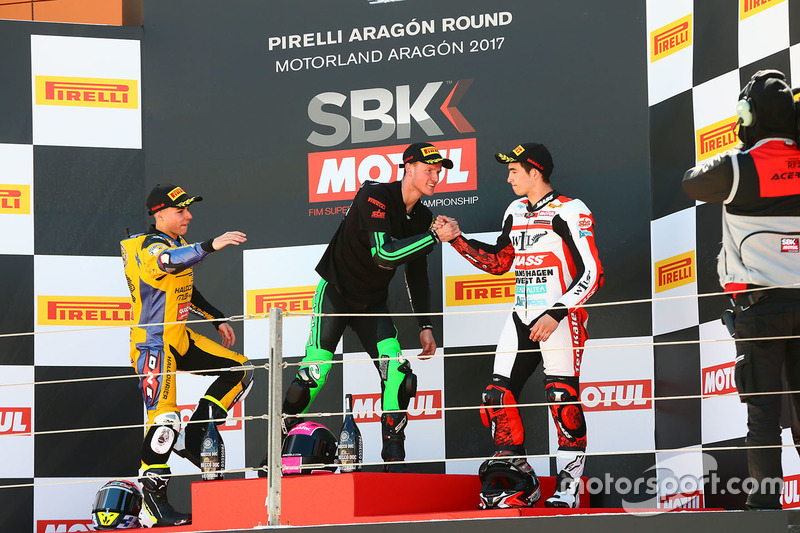 Podium SSP300: race winner Scott Deroue, MTM HS Kawasaki, second place Daniel Valle, Halcourier Racing, third place Mika Perez, WILSport Racedays