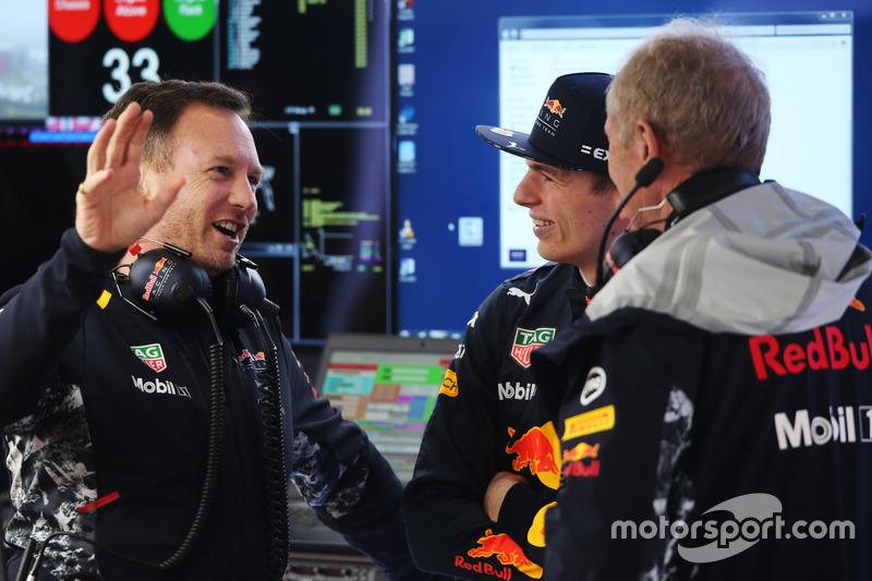 Christian Horner, Team Principal, Red Bull Racing, Max Verstappen, Red Bull Racing, and Helmut Markk
