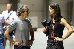 Alain Prost, conseiller spécial Renault Sport F1 et Margot Laffite, Canal+