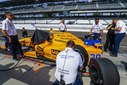 The car of Fernando Alonso, Andretti Autosport Honda, in the pits