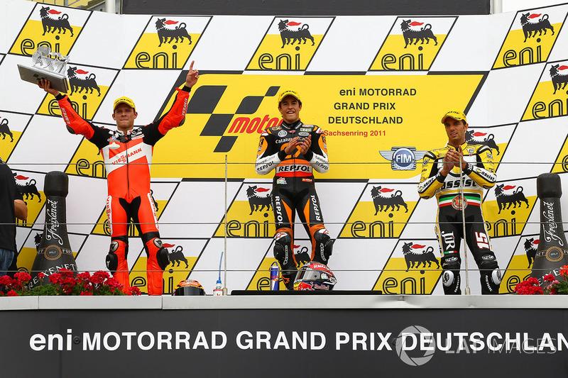 Podio: 1º Marc Márquez, 2º Stefan Bradl, 3º Alex de Angelis