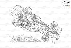 Подробная схема и вид сбоку McLaren M23B 1976 года