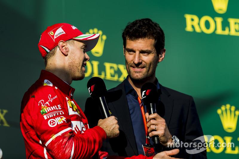 Podium. 1. Sebastian Vettel, Ferrari; Mark Webber
