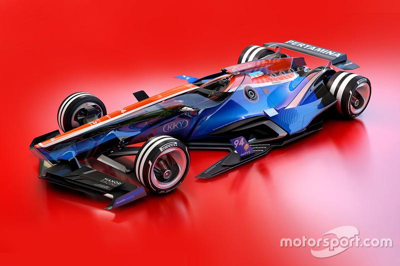 Desain fantasi mobil Manor Racing 2030