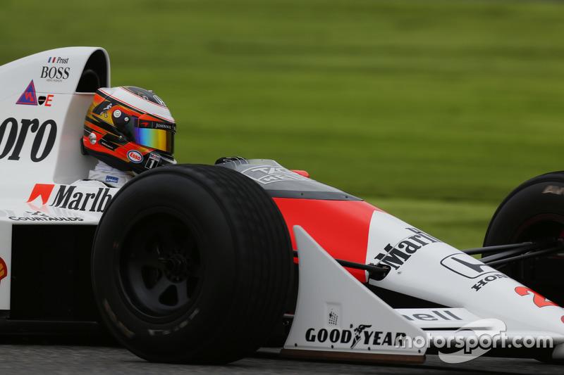 Stoffel Vandoorne, Test and Reserve Driver, McLaren, in the Alain Prost McLaren MP4/5 Honda