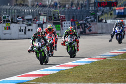 Jonathan Rea, Kawasaki Racing Team, Tom Sykes, Kawasaki Racing Team und Chaz Davies, Aruba.it Racing