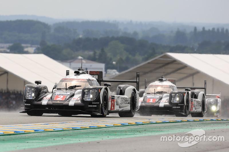 #2 Porsche Team Porsche 919 Hybrid: Romain Dumas, Neel Jani, Marc Lieb and #1 Porsche Team Porsche 919 Hybrid: Timo Bernhard, Mark Webber, Brendon Hartley