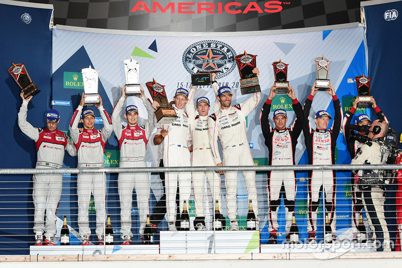 Podium: race winners Timo Bernhard, Mark Webber, Brendon Hartley, Porsche Team, second place Lucas di Grassi, Loic Duval, Oliver Jarvis, Audi Sport Team Joest, third place Stéphane Sarrazin, Mike Conway, Kamui Kobayashi, Toyota Racing