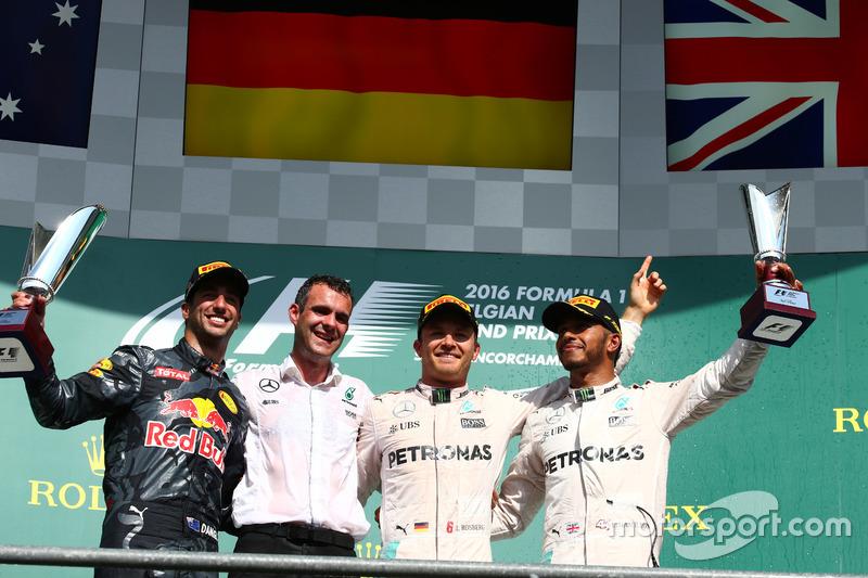1. Nico Rosberg, Mercedes AMG Petronas F1 W07, 2. Daniel Ricciardo, Red Bull Racing RB12, 3. Lewis Hamilton, Mercedes AMG F1 W07