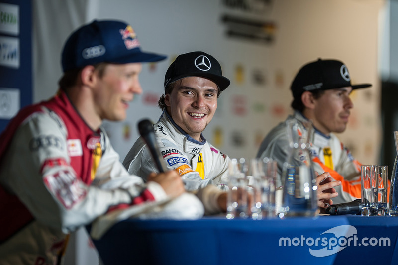 happy, Lucas Auer, Mercedes-AMG Team Mücke, Mercedes-AMG C63 DTM, at the press conference
