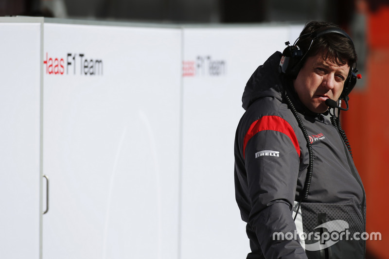 A Haas F1 team member at work