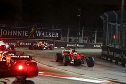 Sebastian Vettel, Ferrari SF70H, crashes out on the opening lap