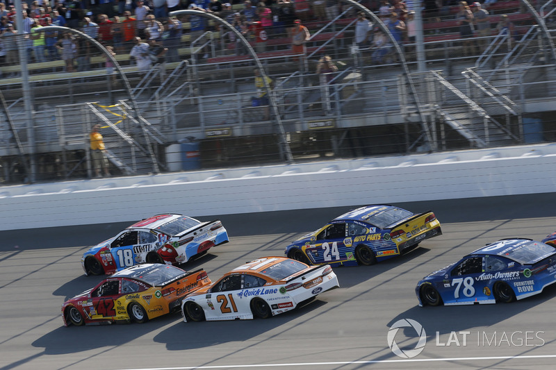 Kyle Larson, Chip Ganassi Racing Chevrolet Kyle Busch, Joe Gibbs Racing Toyota Ryan Blaney, Wood Brothers Racing Ford Chase Elliott, Hendrick Motorsports Chevrolet
