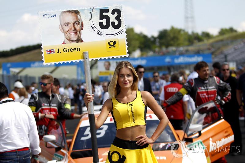 Grid girl of Jamie Green, Audi Sport Team Rosberg, Audi RS 5 DTM