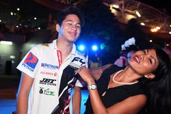 Daniel Frost, winner of the F4 race in which all cars ran out of fuel, his Mother Jasmin