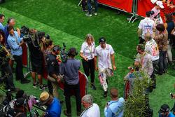 Sergio Perez, Sahara Force India and Esteban Ocon, Sahara Force India in the media interview area