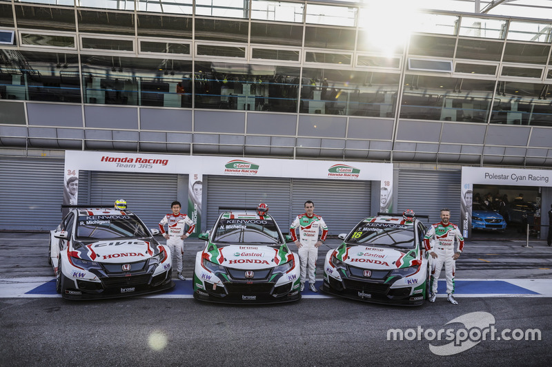 Ryo Michigami, Honda Racing Team JAS, Honda Civic WTCC ; Norbert Michelisz, Honda Racing Team JAS, Honda Civic WTCC; Tiago Monteiro, Honda Racing Team JAS, Honda Civic WTCC