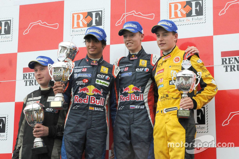 Podium: race winner Daniil Kvyat, Koiranen GP, second place Carlos Sainz Jr., Koiranen GP, third place Stoffel Vandoorne, KTR
