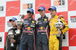Podium: race winner Daniil Kvyat, Koiranen GP, second place Carlos Sainz Jr., Koiranen GP, third place Stoffel Vandoorne, KTR