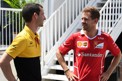 Sebastian Vettel, Ferrari and Remi Taffin, Head of Renault Sport F1 Track Operations
