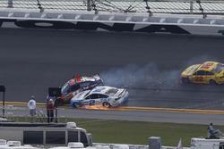Denny Hamlin, Joe Gibbs Racing Toyota, crash with Brad Keselowski, Team Penske Ford
