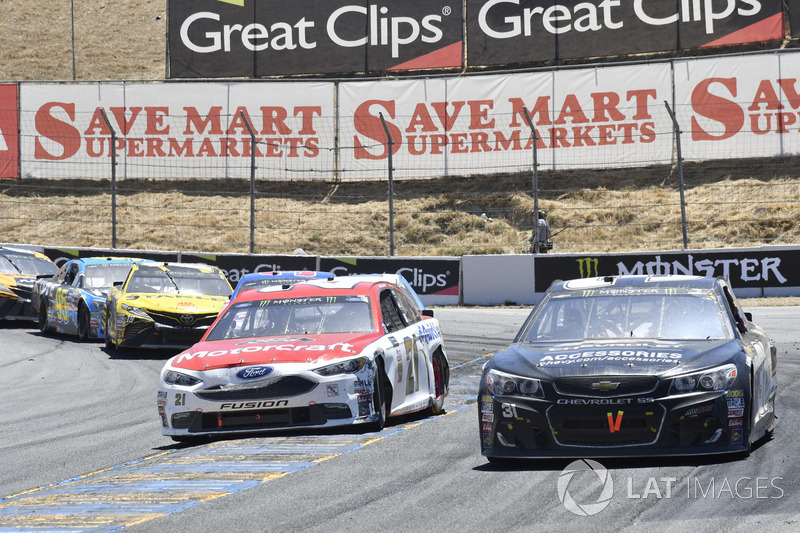 Ryan Newman, Richard Childress Racing Chevrolet, Ryan Blaney, Wood Brothers Racing Ford