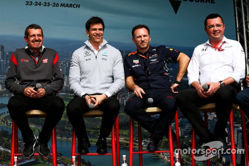 Günther Steiner, Haas F1 Team; Toto Wolff, Mercedes; Christian Horner, Red Bull Racing; Eric Boullier, McLaren