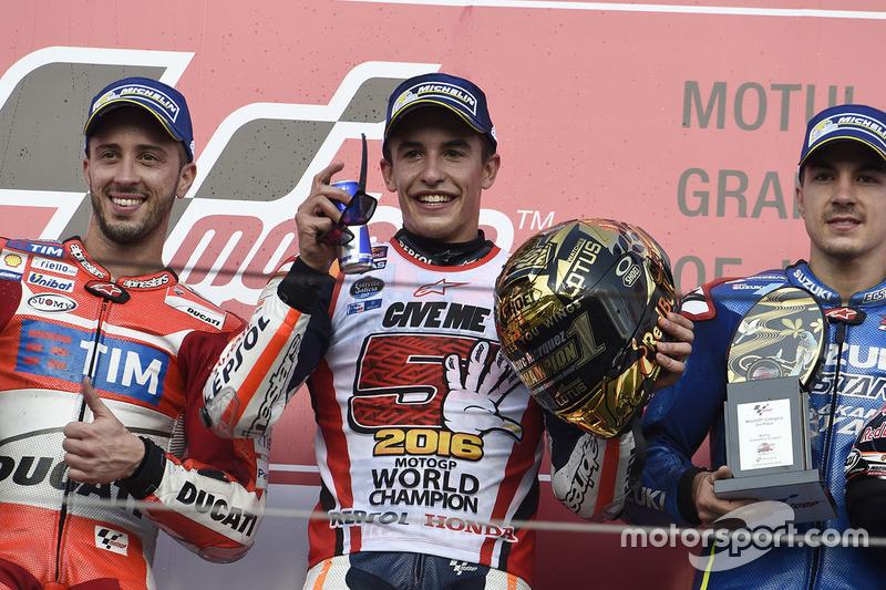 Podium: 1. Marc Marquez, Repsol Honda Team; 2. Andrea Dovizioso, Ducati Team; 3. Maverick Viñales, Team Suzuki Ecstar MotoGP