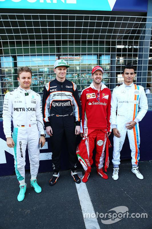 Nico Rosberg, Mercedes AMG F1 Team, Nico Hulkenberg, Sahara Force India F1, Sebastian Vettel, Ferrari en Pascal Wehrlein, Manor Racing