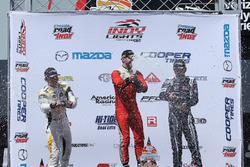 Podium: race winner Felix Serralles, Carlin, second place, Scott Hargrove, Team Pelfrey, third place Kyle Kaiser, Juncos Racing