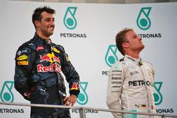 (Зліва направо): Переможець гонки Даніель Ріккардо, Red Bull Racing на подіумі із Ніко Росбергом, Me